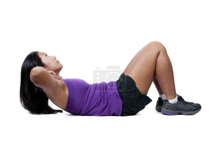 Asian Woman Doing Crunches
