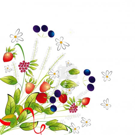 Illustration for Bunch from flowers and berries - Royalty Free Image