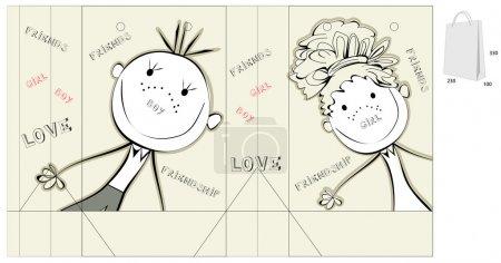 Illustration pour Sac décoratif avec une illustration d'amis heureux - image libre de droit