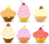 Set of 6 cute vector cupcakes