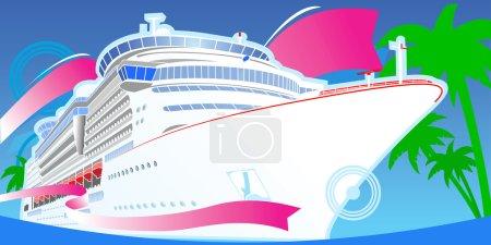 Illustration for Color Luxury Cruise Big Boat. - Royalty Free Image