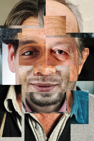 Photo for Human face made of several different , artistic concept collage - Royalty Free Image