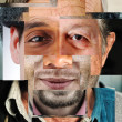 Human face made of several different , artistic co...