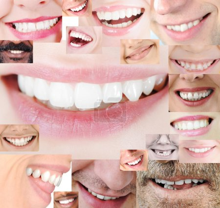 Photo pour Dents humaines saines sourire collage - image libre de droit