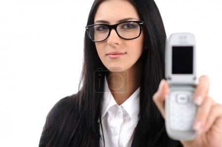 A lovely young woman with glasses showing mobile phone