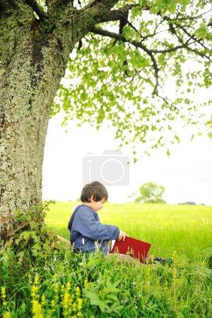 Photo pour Heureux les enfants lisant le livre sous l'arbre - image libre de droit
