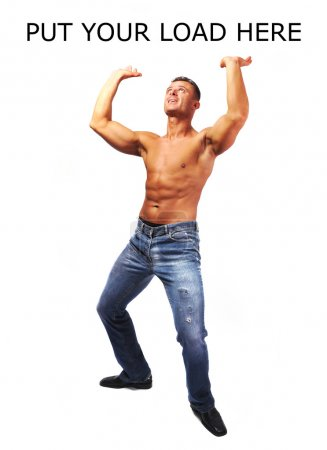 Macho musculature man with a copy space isolated on white - GREA