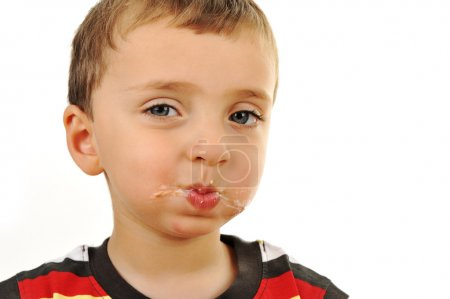 Photo for Messy boy, after eating sandwich - Royalty Free Image