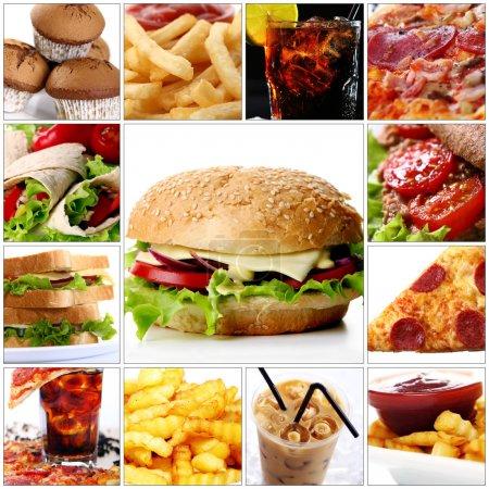Foto de Collage de productos diferentes de comida rápida con gran hamburguesa con queso en el centro - Imagen libre de derechos