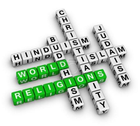 Photo pour Grandes religions du monde - christianisme, islam, judaïsme, bouddhisme, hindouisme - image libre de droit