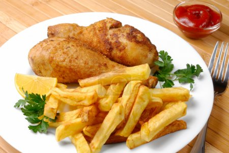 Fried chicken with potato