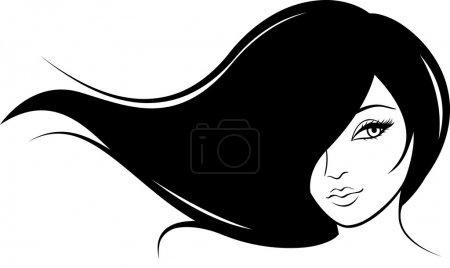 Glamour girl with black hairs in anime-style...