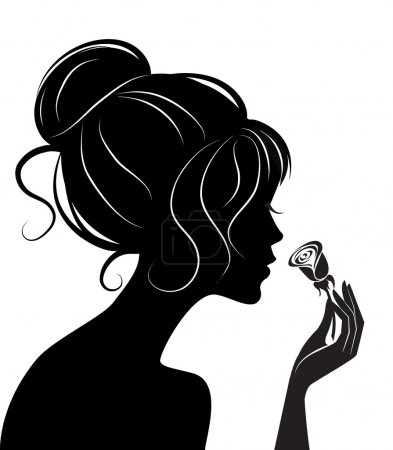 Illustration for Beauty girl silhouette with rose. Vector illustration - Royalty Free Image