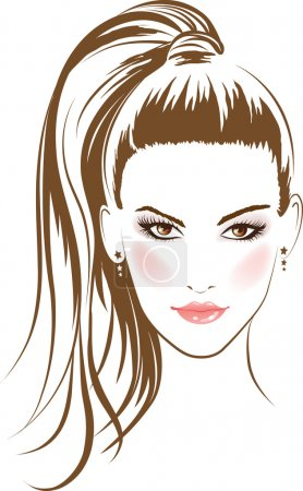 Illustration for Face glamour girl with long hairs. Vector - Royalty Free Image