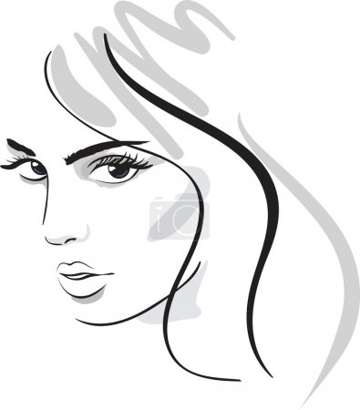 Beauty girl face. design elements. Vector Illustra...