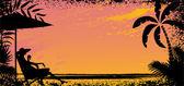 Girl on beach Vector silhouette banner