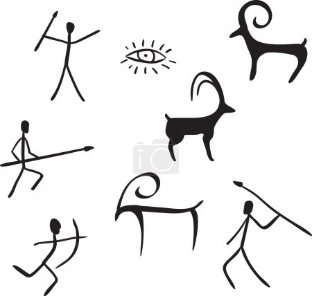 Vector primitive figures looks like cave painting ...
