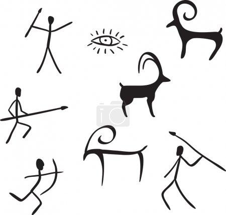 Primitive figures looks like cave painting