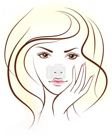 Illustration for Beauty woman face. Vector illustration. . Portrait. - Royalty Free Image