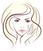 Beauty woman face Vector illustration  Portrait
