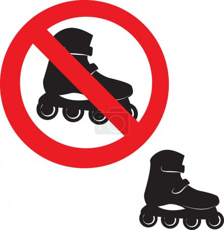 Panneau interdit. icône de patin à roulettes .