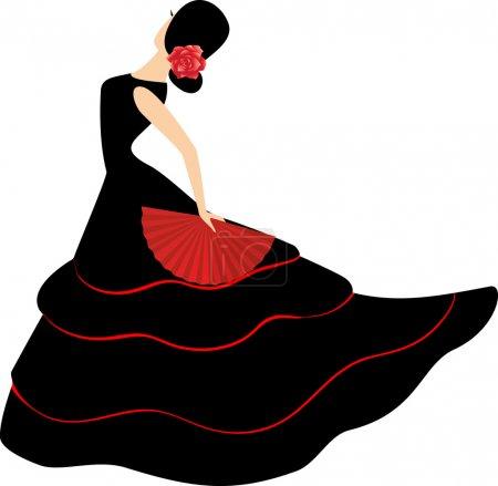 Illustration for Flamenco dancer. Spanish girl with fan dances a flamenco, vector illustration - Royalty Free Image