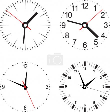 Illustration for Set vector illustration of clock. Isolated object. - Royalty Free Image