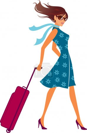 Illustration for Woman with a luggage bag. Vector illustration. - Royalty Free Image