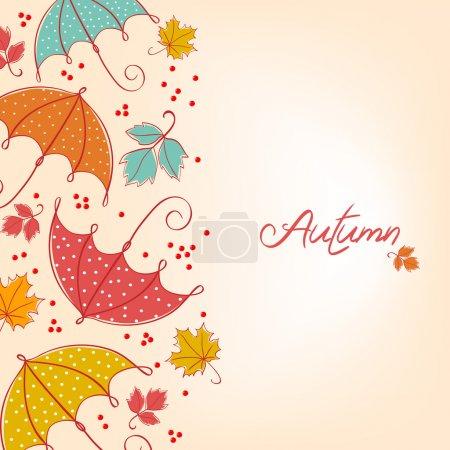 Illustration pour Feuilles d'automne et parapluie. Fond vectoriel coloré - image libre de droit