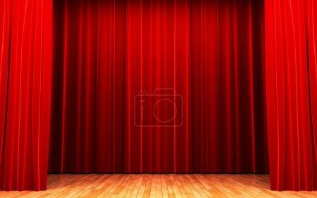 Photo pour Scène d'ouverture de rideau de velours rouge fait en 3d - image libre de droit
