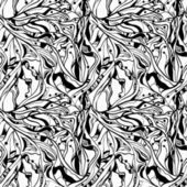Vector seamless monochrome abstract floral background 4 clipping masks