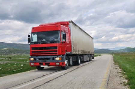 Big delivery truck on road
