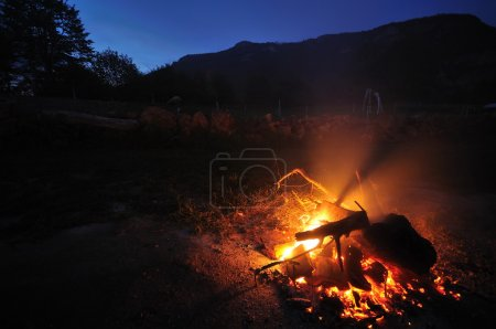 Fire with long exposure on camping at night
