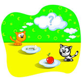 Two cats eating Beside one fish bones Beside other apple Perplexity Question Cartoon Vector scene Humor