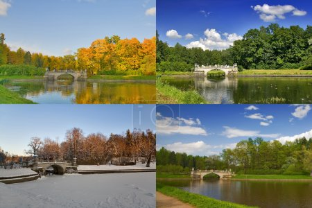 Four seasons of old bridge