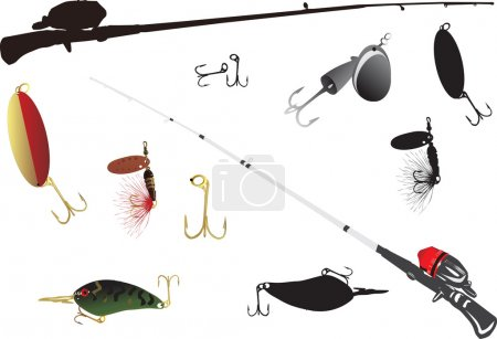 Illustration for Illustration with tools for fishing collection - Royalty Free Image