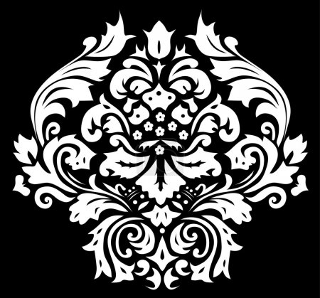 Illustration for Illustration with white floral decoration on black background - Royalty Free Image