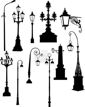 Set of street lamps