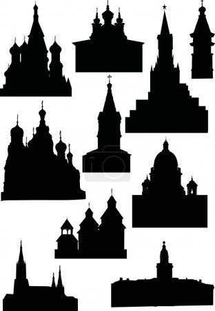 Illustration with charches and towers silhouettes ...