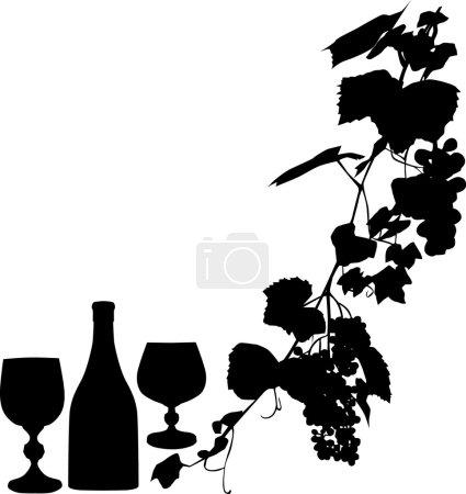 Illustration pour Illustration avec raisins et feuilles sur fond blanc - image libre de droit
