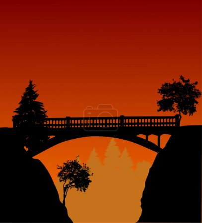 Illustration for Illustration with bridge above precipice and sunset - Royalty Free Image