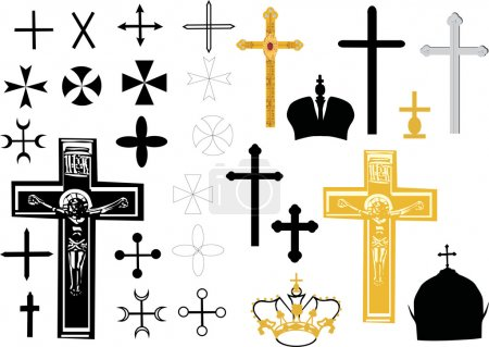 black and gold cross set