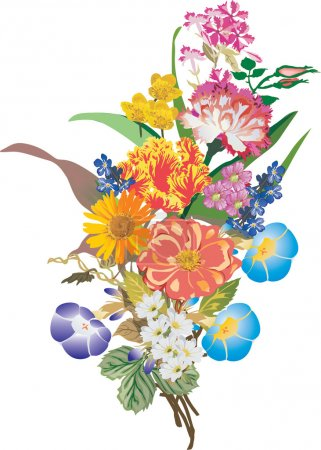 Illustration for Illustration with bunch of different flowers isolated on white background - Royalty Free Image