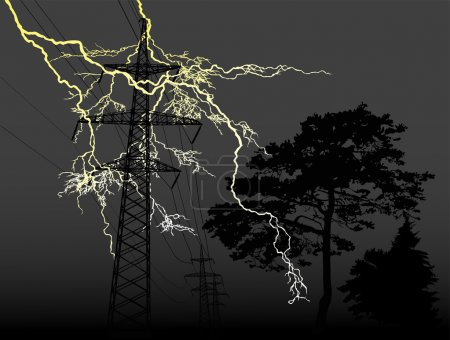 Lightning, trees and high-voltage line