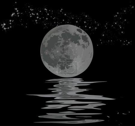 Illustration pour Illustration avec pleine lune, étoiles et son reflet - image libre de droit