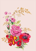 """Постер, картина, фотообои """"Красный Мак и розовый букет роз"""""""