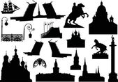 saint-petersburg architecture silhouettes