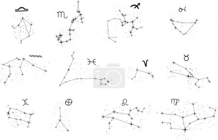Zodiac constellation silhouettes