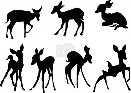 Illustration for Illustration with young deers isolated on white bakground - Royalty Free Image