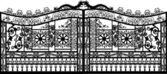 černé zdobené brány na bílém pozadí